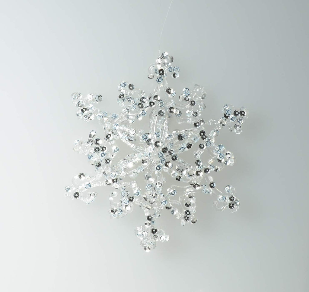 TenWaterloo Set of 6 Sparkling Dimensional Snowflake Ornaments 5 Inches x 1 Inch