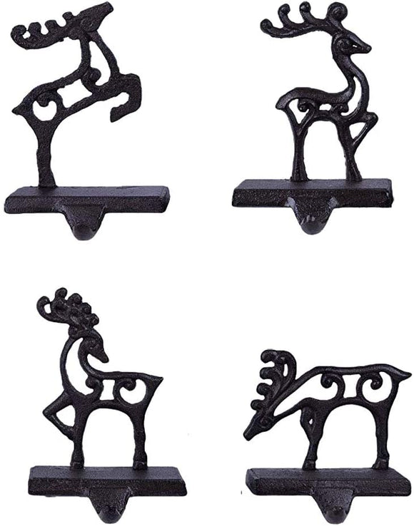 Reindeer Team Cut-out Poses 7 x 5 Black Metal Christmas Stocking Holder Set of 4