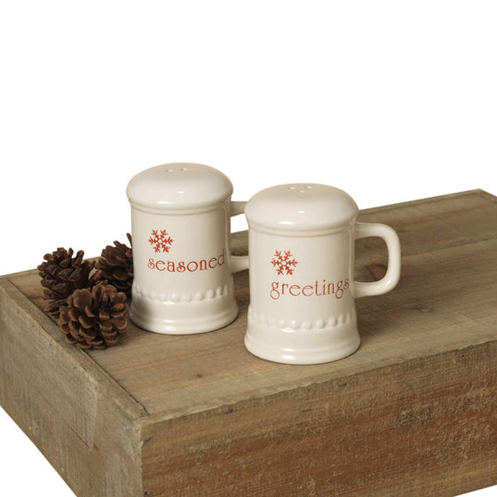 Christmas Ceramic Salt & Pepper Shaker Set - Seasoned Greetings