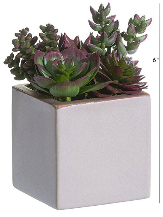 6 Inch High Large Artificial Succulent Garden In Taupe Glazed Ceramic Pot With Green and Mauve Succulent Plants