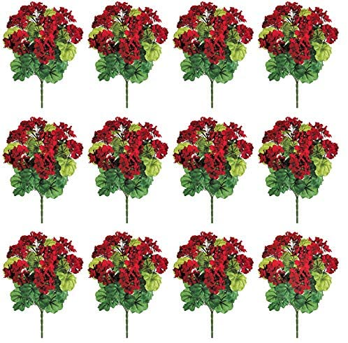 Set of 12 Artificial Red Geranium Bushes, 17.5 High x 7 Inches Wide Each, Faux Floral