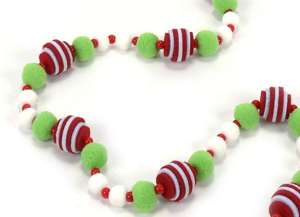 6 Foot Christmas Pom Pom Snowball Garland with Green and White Felted Balls and Red and White Stacked Felt Balls, Beaded Accents
