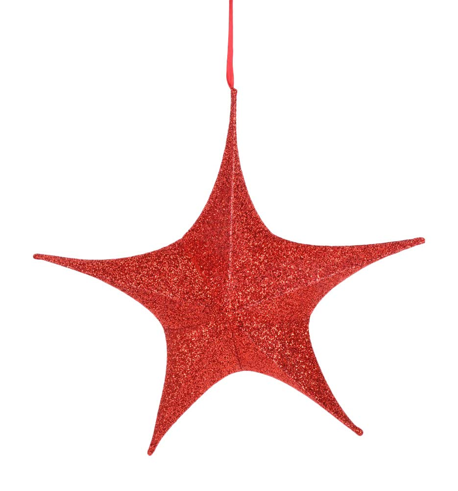 TenWaterloo 24 Inch Hanging Red Sparkled Star - 3 Dimensional Fabric Covered Hanging Ornament