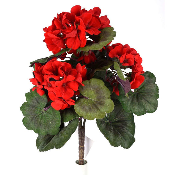 DE 14 Inch High Artificial Red Geranium Flower Bush with 3 Blossom Heads