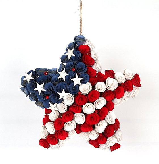 12 Inch Wood Curled Roses Patriotic Star Wreath in Red, White & Blue - Front Door Wreath