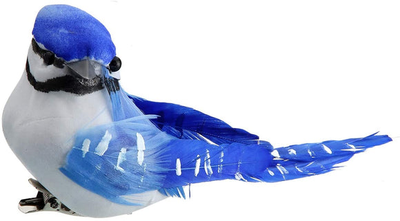Set of 6 Blue Jays with Real Feathers and Clips in Shades of Blue, White and Black - 3.5 Inches x 2 Inches