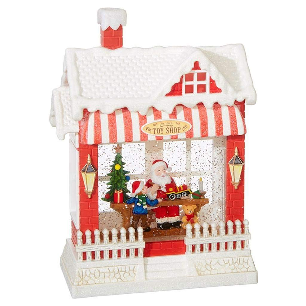 Santa's Toy Shop Lighted Water House 10 Inch Holiday Snow Globe with Swirling Glitter and Music