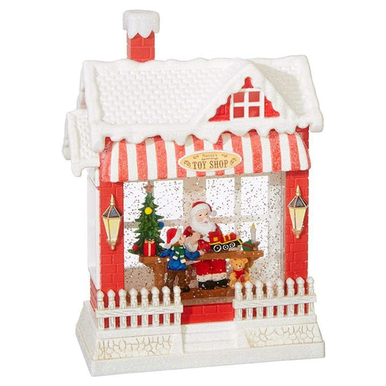 RAZ Imports Santa's Toy Shop Lighted Water House 10 Inch Holiday Snow Globe with Swirling Glitter and Music