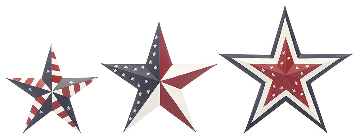Ten Waterloo Set of 3 Metal Patriotic 3-D Stars - Americana Hanging Metal Wall Art