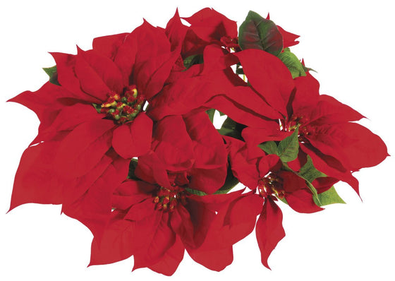 Red Poinsettia Christmas Velvet Candle Ring for 3 Inch Pillar Candle