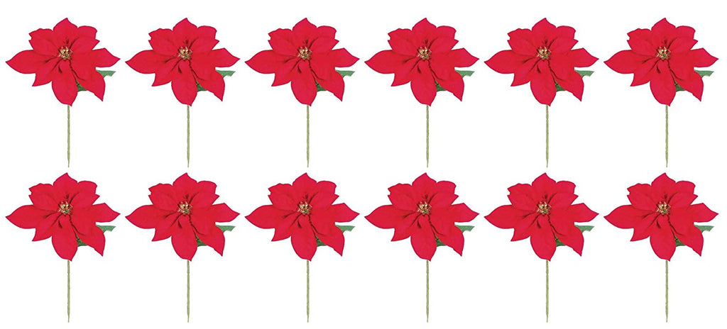 Allstate Set of 12 Velvet Red Poinsettia Flower Stems 14 Inches - Artificial Christmas Poinsettia Flowers