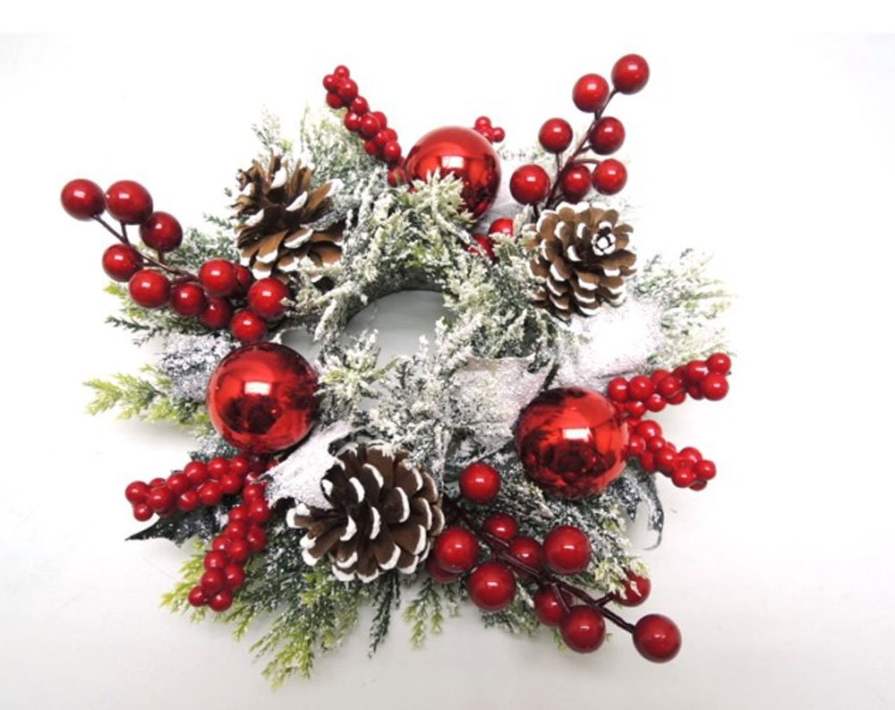 12 Inch Christmas Candle Ring for 3 Inch Pillar Candle with Berries, Ornaments and Pinecones