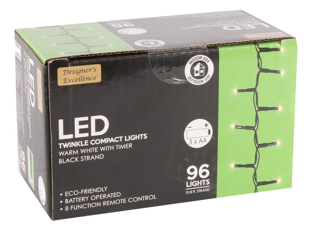 Direct Export Designers Excellence 96 LED Twinkle Lights with Timer/Remote Battery Operated Black Wire