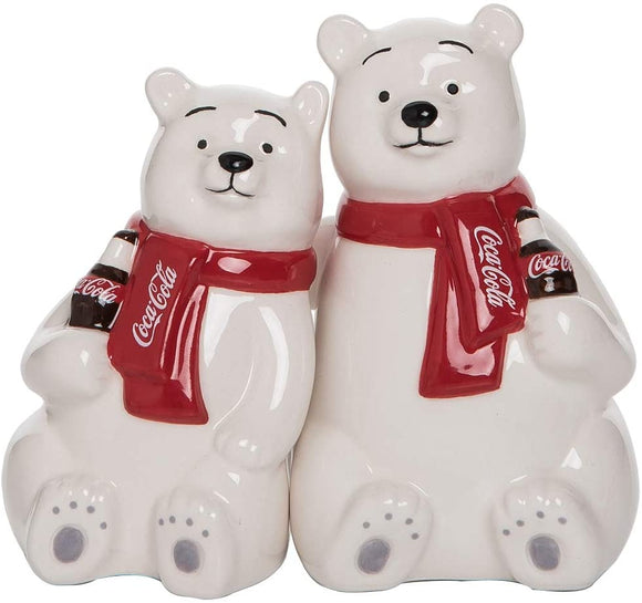 Coca Cola Ceramic Hugging Polar Bear Salt and Pepper Shaker Set, Hugging Coke Polar Bears Collectible Ceramic Coca-Cola Salt & Pepper Shakers