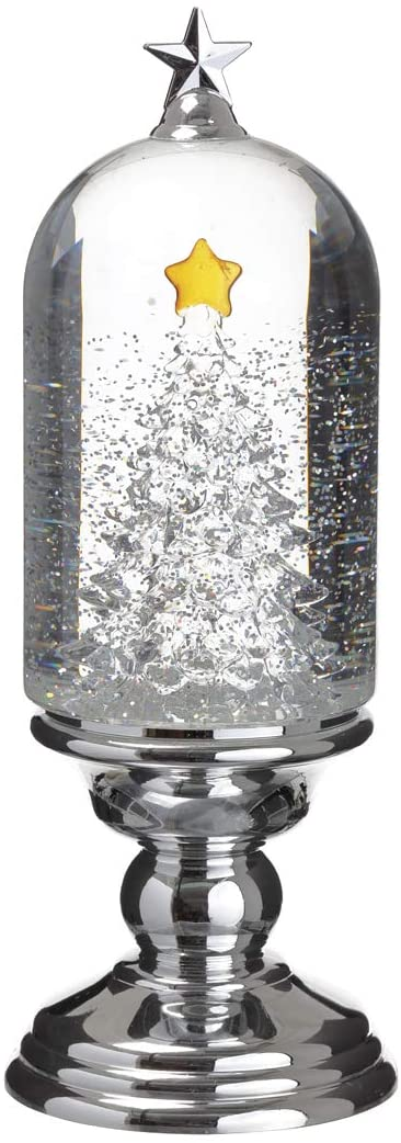Lighted Christmas Tree Water Snow Globe - Battery Operated with Swirling Sparkled Snow 12 Inches High