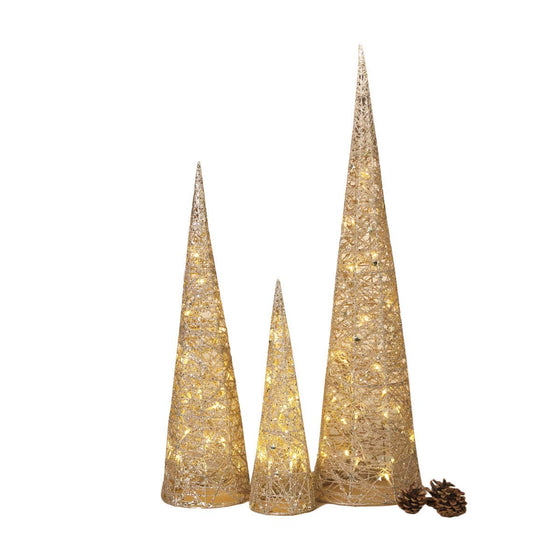 Set of 3 Lighted Gold Glittered Christmas Cone Trees 32 Inches, 24 Inches and 16 Inches High- Battery Operated with Steady or Blinking Functions