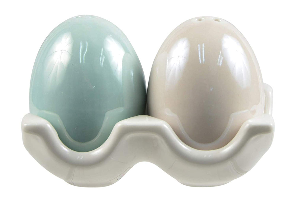 Easter Egg Salt and Pepper Shaker Set, Ceramic, in Pearlized Soft Green and Cream with Ceramic Egg Crate Holder