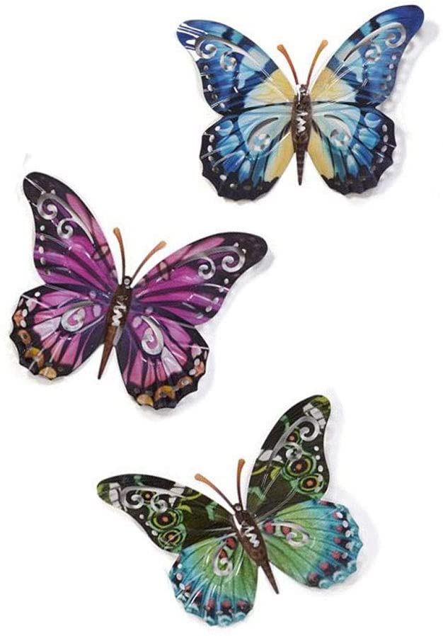 Set of 3 Large Metal Butterflies Hanging Wall Art, 17.5 Inches x 13.5 Inches, 3 Designs