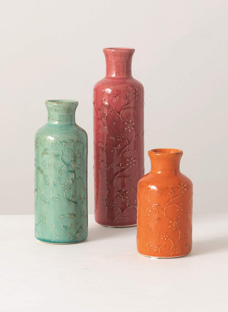 Set of 3 Decorative Ceramic Vases in Soft Teal Green, Rose and Orange - 5 Inches, 7 inches and 10 Inches High