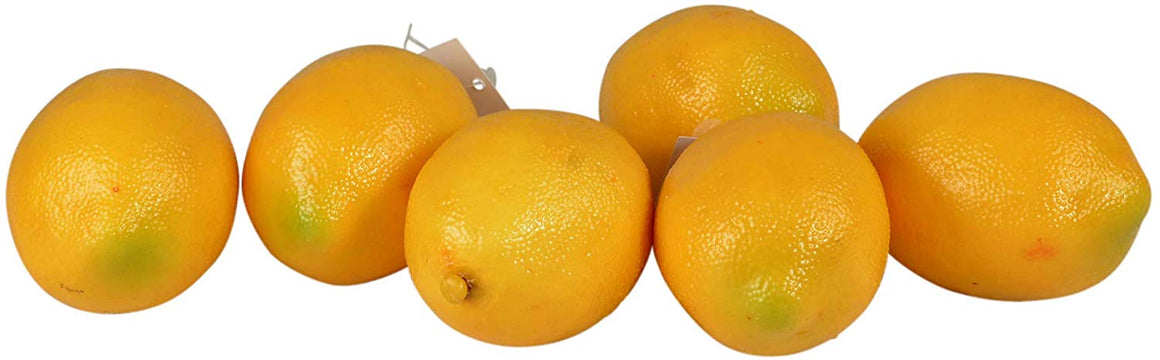 Artificial Lemons, Lot of 6, Decorative Lifelike Lemons Bowl Filler, Realistic Coloring and Texture