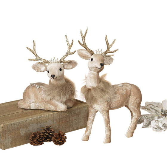 GER Set of 2 Elegant Faberge Style Christmas Deer 10 Inches and 15 Inches with Jewels, Embossed Fabric Pattern, Sparkled Accents and Royal Crowns in Taupe Velvet