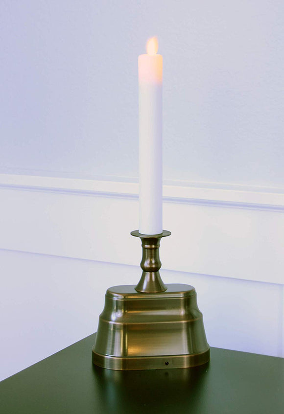 Flameless Window Candle with Dusk to Dawn Timer, Oil Rubbed Bronze Colonial Base, 13.5 Inches High x 5 Inches Wide, Sensor and Long Run Time