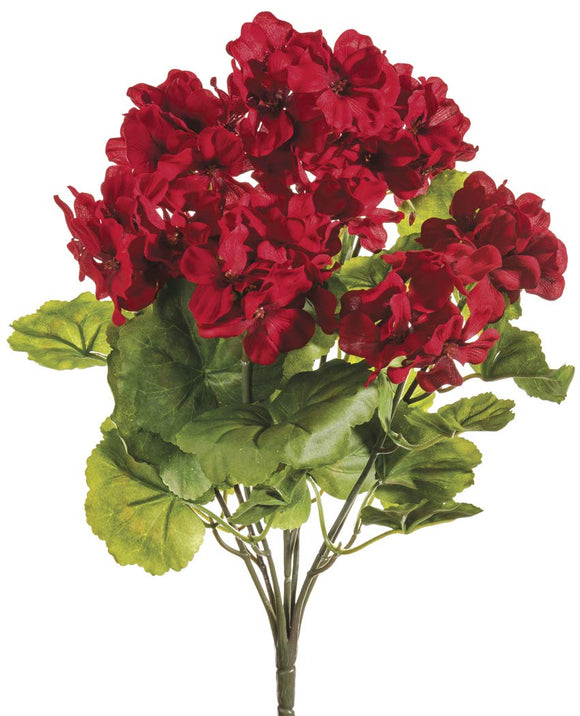"Ten Waterloo Red UV Protected Outdoor Artificial Geranium Bush - 18"" Tall"