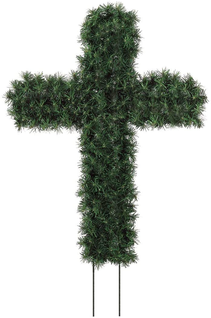 TenWaterloo 28 Inch Artificial Pine Cross with 8 Inch Stakes, Memorial Holiday Cross