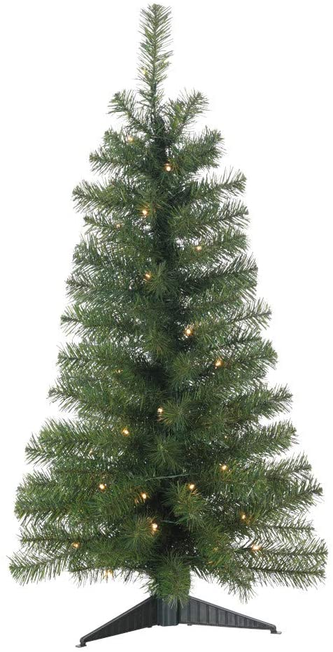36 Inch LED Lighted Norway Pine Artificial Christmas Tree, Pre-Lit Warm White Compact LED Lights, Battery Operated with Timer and Function Mode