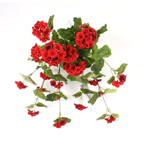 DE 22 Inch Red Geranium Hanging Bush, Artificial Floral