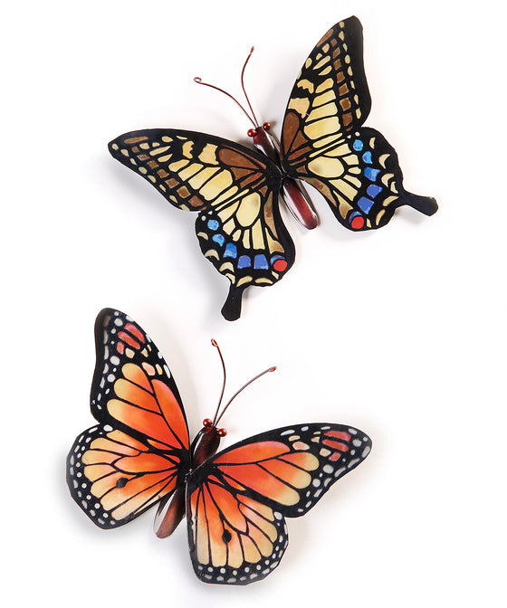 Set of 2 Large Metal Butterflies Hanging Wall Art, 13 Inches x 9 Inches, 2 Designs