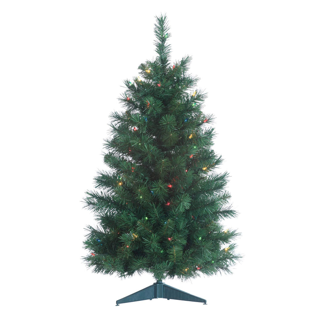 Colorado Spruce Lighted 3 Foot High Christmas Tree - Artificial Tree with Multi Colored Lights