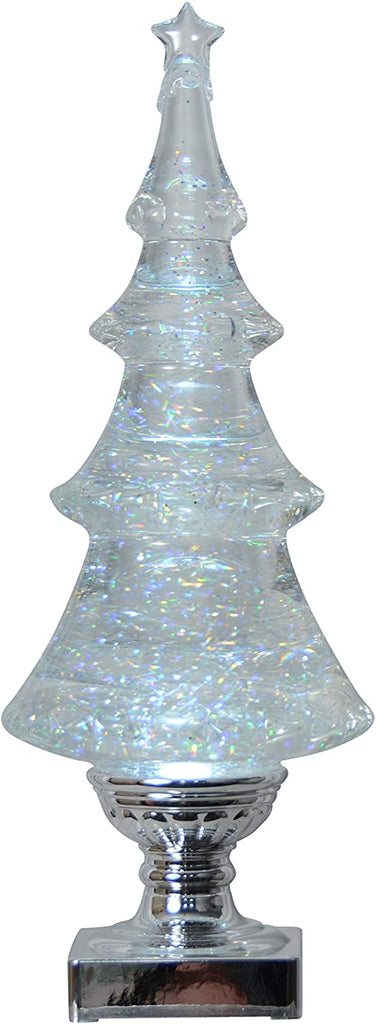 Lighted Christmas Tree Water Snow Globe - Battery Operated with Swirling Snow 14 Inches High