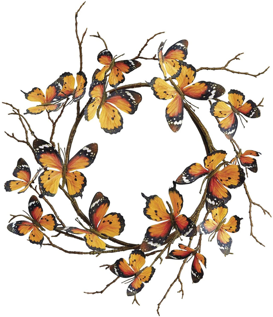 14 Inch Monarch Butterfly Wreath Décor, Faux Butterfly Art