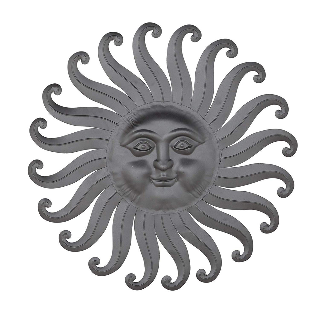 Ten Waterloo 30 Inch Metal Sun Wall Art Sculpture, Charcoal Grey Finish