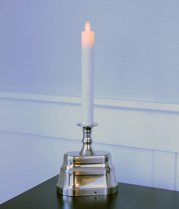 Flameless Window Candle with Dusk to Dawn Timer, Nickle Silver Color Colonial Base, 13.5 Inches High x 5 Inches Wide, Sensor and Long Run Time