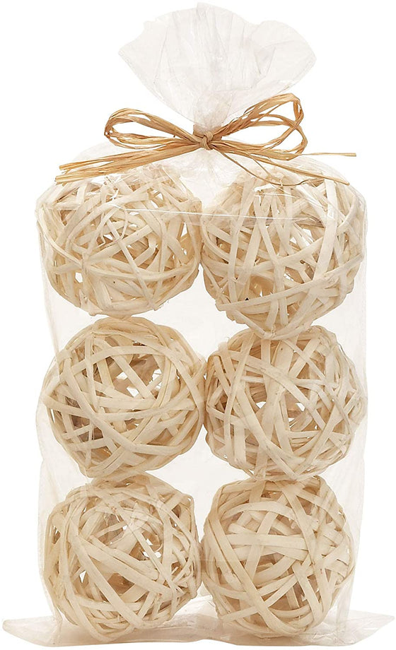 Set of 6 Natural Vine Balls Light Natural Color, 3.5 Inches Diameter, Bowl and Vase Filler