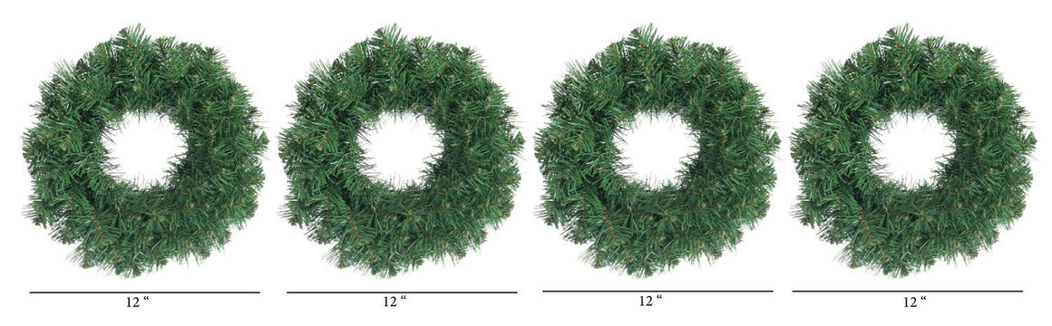 Set of 4 Small Christmas Pine Wreaths 12 Inches Diameter Each - Artificial Pine Wreaths For Windows, Doors and Holiday Displays