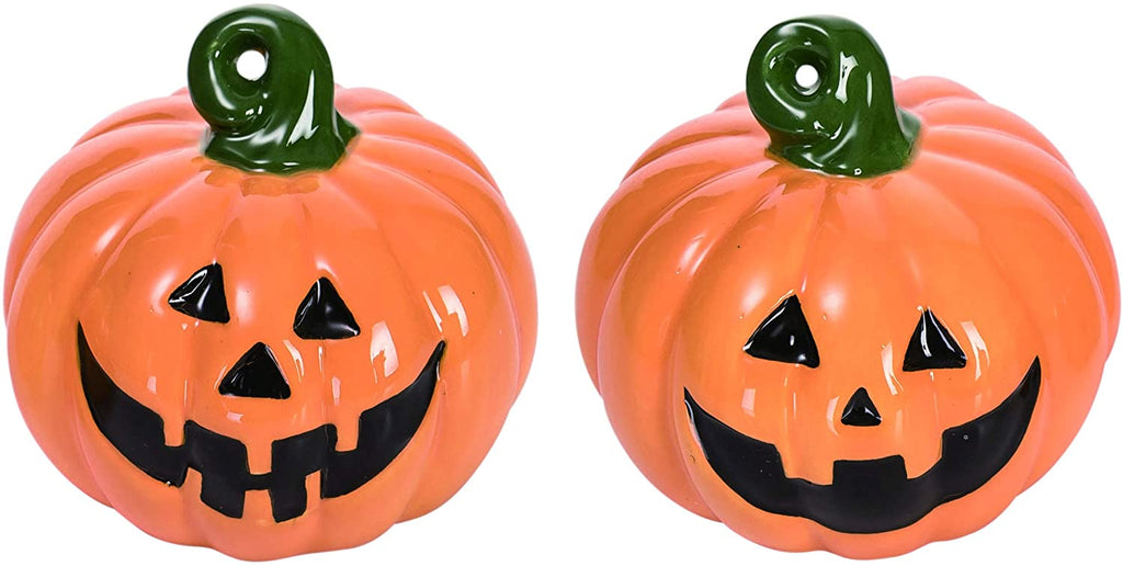 Ceramic Pumpkin Salt and Pepper Shaker Set, Orange, 2.5 Inches