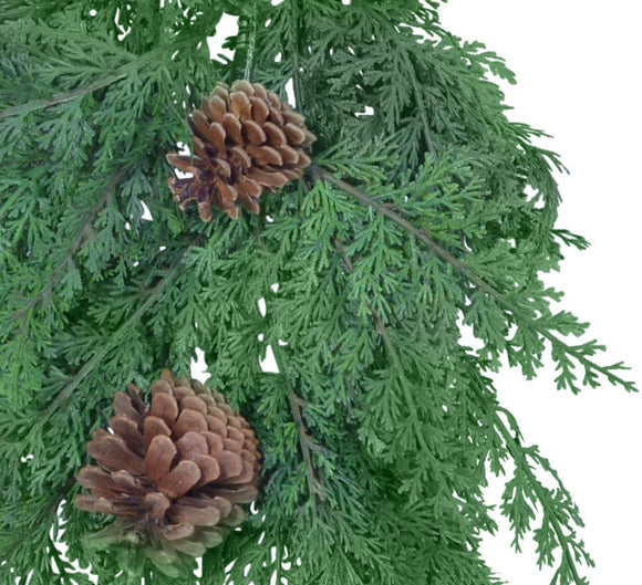 TenWaterloo 29 Inch Artificial Cedar Pine Front Door Swag with Pine Cones