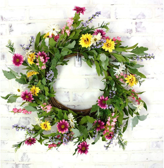 DE 24 Inch Artificial Mixed Daisy Wreath on a Grapevine Base, Pinks, Yellows, Purples and White