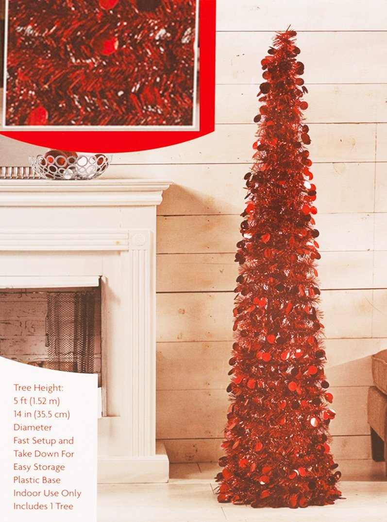 Collapsible Christmas Tree.Pop Up Tinsel Tree Red Christmas Pull Up Tree 5 Feet High