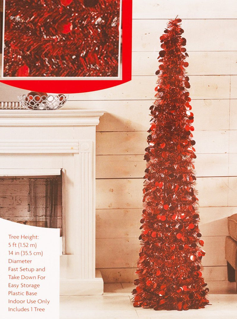Pop Up Tinsel Tree - Red Christmas Pull Up Tree 5 Feet High