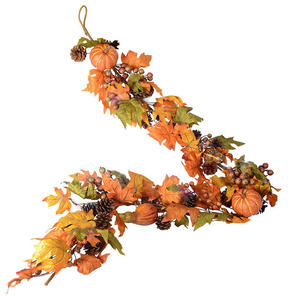 Ten Waterloo 72 Inch Fall and Thanksgiving Garland - Maple Leaf Garland with Pumpkins, Gourds, Pine Cones and Berries with Wrapped Base