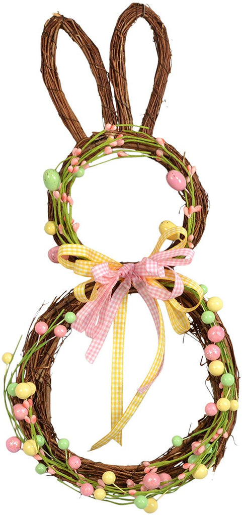 Easter Bunny Twig Wreath 17 Inches High with Ribbons in Pink, Yellow and Green Accents