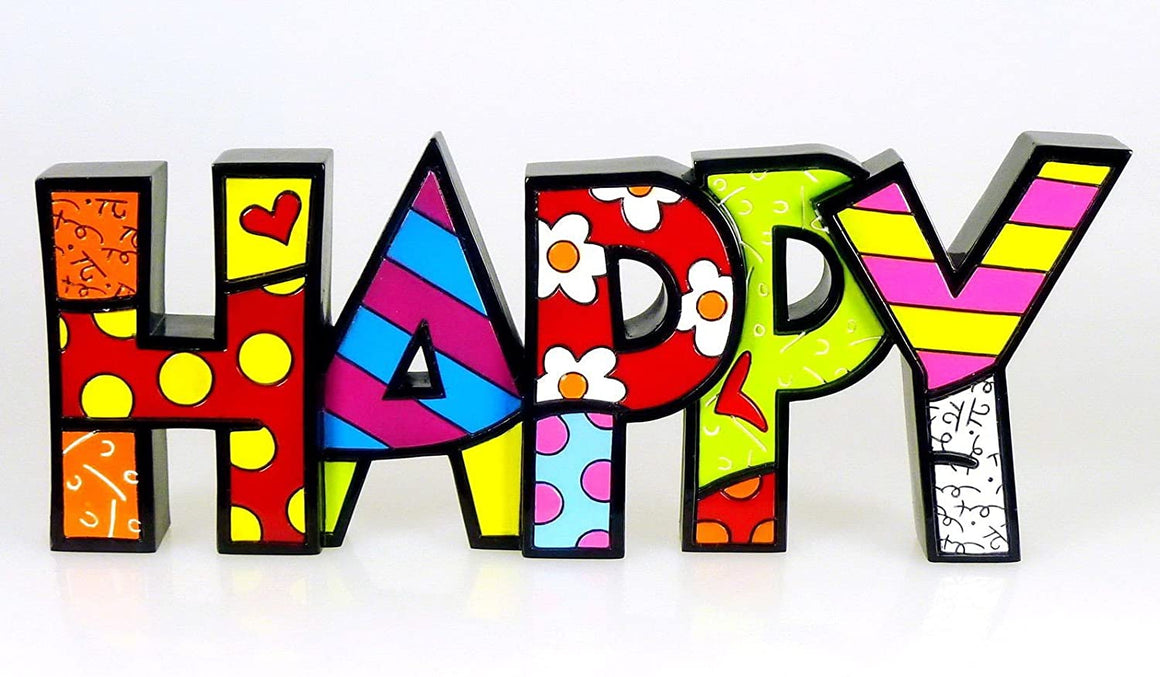 Gift Craft Romero Britto Happy Letters Word Pop Art Figurine