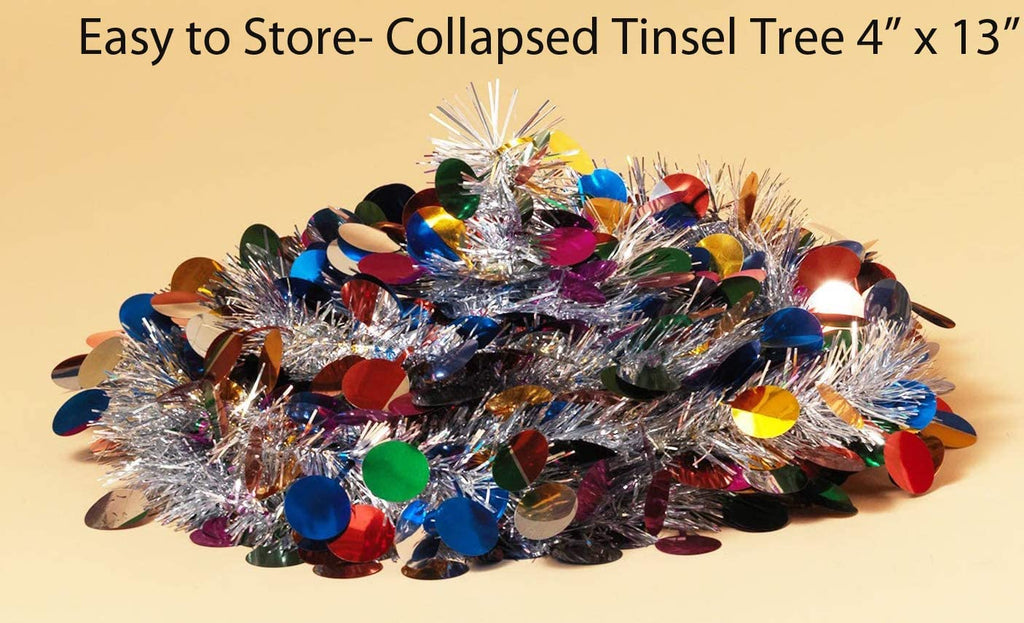 6 Foot Pop Up Tinsel Tree - Green with Red Balls, Christmas Pull Up Tree 6 Feet High x 14 Inches Wide