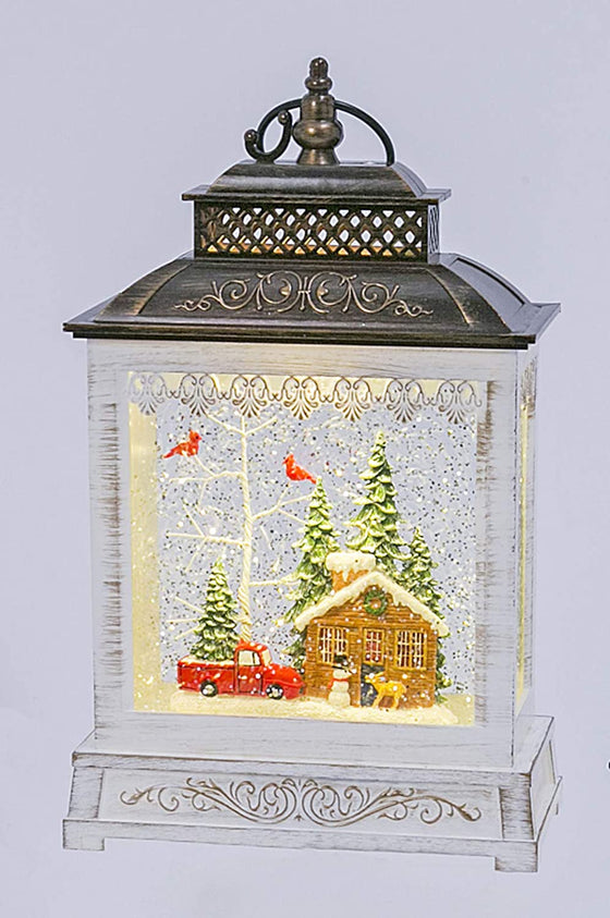 Snowy Scene with Christmas Tree on Red Truck Christmas Musical Lighted Water Lantern, 9 Inches High, Battery Operated with Timer- 2 Modes, Christmas Snow Globe with Swirling Glittered Snow Effect