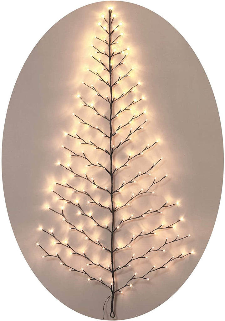 TenWaterloo Lighted Christmas Wall Tree - Indoor/Outdoor LED 6 Foot High - Cool White Lights - Battery Operated with Timer