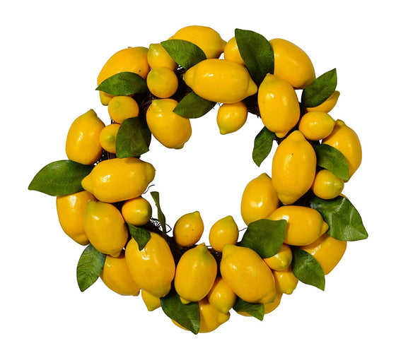 Ten Waterloo Lemon Wreath with Leaves on Twig Base, 15 Inches, Artificial Lemons